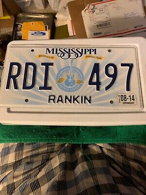 Mississippi License Plate. Birthplace of America's Music. Guitar. # RDI 497.