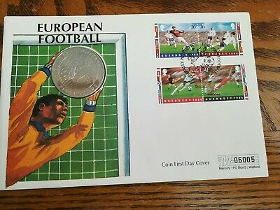 Guernsey first day cover 1996 with European football £5 crown