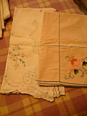 2 Vintage Cotton Tablecloths - 1 Beige 1 White - With Embroidery