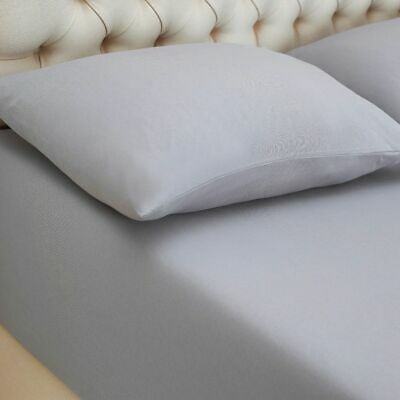 Grey 100% Combed Cotton Jersey Deep Fitted Sheet Bed Covers All Uk Sizes
