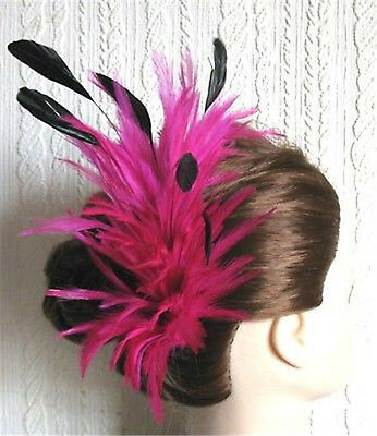 hot pink black feather fascinator comb hair clip headpiece wedding party piece
