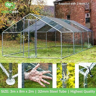 Alphapet® 3M X 8M Chicken Run Coop Enclosure For Pets Chickens Dogs Hens Poultry