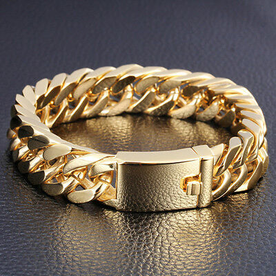 Hot Sell Mens High Quality Stainless Steel Gold Double Link Bracelet 14mm8.5""