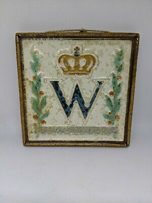 ANTIQUE DELFT Porceleyne Queen Wilhelmina Tile 1898 - 1923 Dutch Royal Monarchy