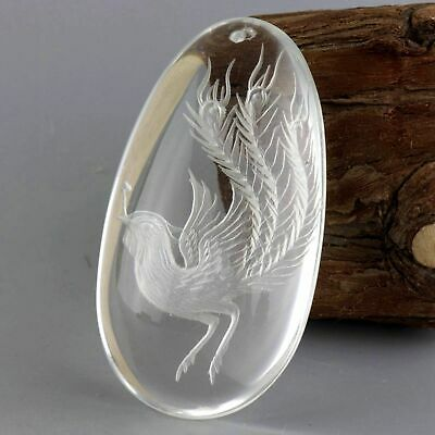 Collect China Natural Crystal Hand-Carved Myth Phoenix Moral Auspicious Pendant