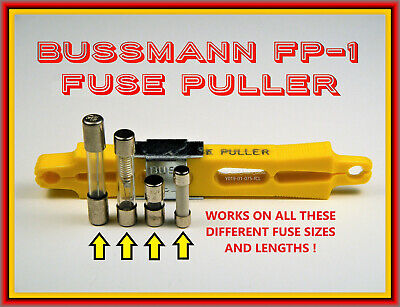 Fuse Puller, Bussmann Fp-1, Bright-Yellow With Metal Compression Clamp
