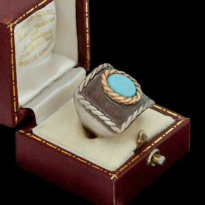 Antique Vintage Art Deco Mid Century Sterling Silver Turquoise Band Ring Sz 7.25
