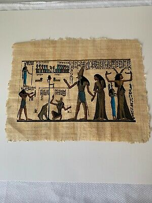Egyptian Art Picture on Papyrus, Hand Painted Limited Hard To Find Fast Shipping