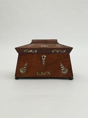 Antique tea caddy William IV period in rosewood with Mother Of Pearl inlay box