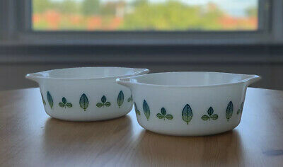 Pyrex Promotional Cinderella Twin Server Blue And Green Leaves (1959)