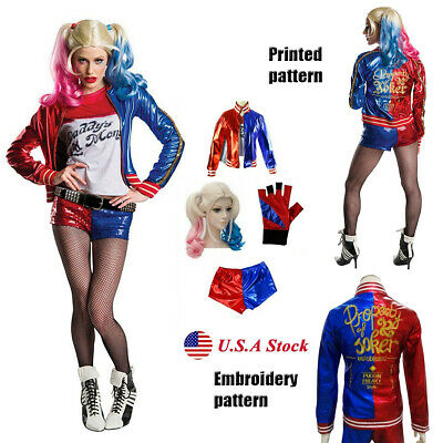Adult Costmue Harley Quinn Suicide Squad Wigs Halloween Cosplay Girls Outfit