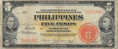 Philippines  5  Pesos  Series of 1936  P 83a  Rare  Circulated Banknote Me16