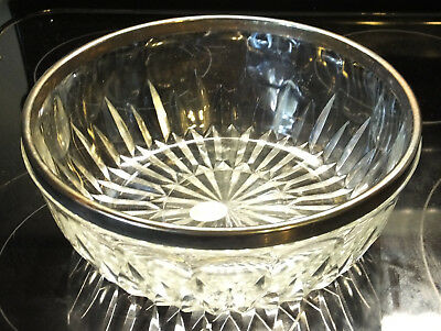 Italian Leonard Silver plated Lead Cut Crystal Serving Bowl Italy