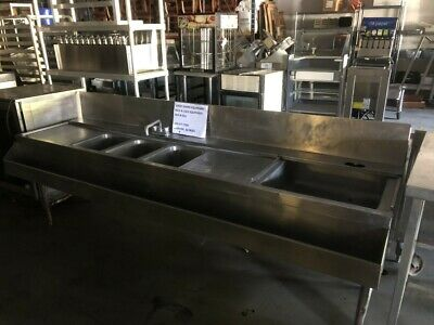 "Commercial Ss 3 Bowl Bar Sink W/ Drain-Boards, Dump Sink, Speed Rail 95"" Inches"
