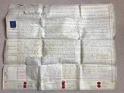 1841 Original Vellum Deed Of Coveyance Indenture For Land- Goole Yorkshire