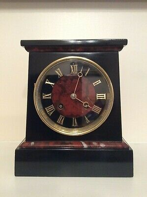 Stunning Small French Black Slate & Red Marble Mantel Clock c1870