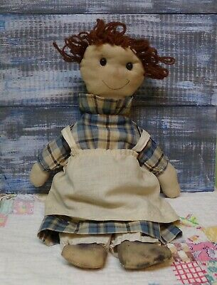 Antique Early Vtg Old Primitive Cloth Rag Doll ~ Raggedy Ann VOLLAND STYLE FACE