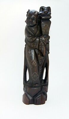 Antique Chinese Hand Carved Wood Man Inlaid Silver Wire