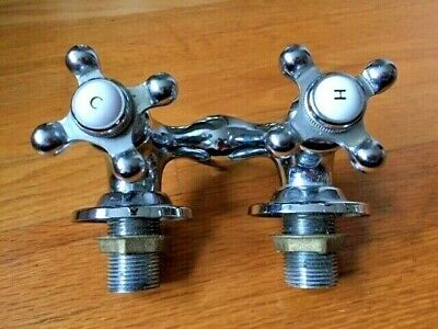 Vintage Claw Foot BATH TUB Chrome Hot Cold Wall Mount FAUCET 2 Cross Handles H&C
