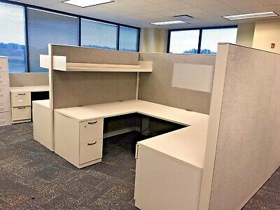 "Pod of 8 - 6' x 8 1/2' x 67""H Cubicles by Steelcase Answer in Gray"