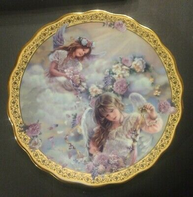 Sandra Kuck Heaven's Blossoms Gardens of Innocence collector plate angels Reco