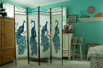 Custom Hand Painted Peacock Room Divider Screen Black Frame Four Panels NJ Shore