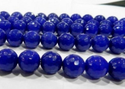 beautiful 8mm Faceted Blue Sapphire Gemstone Round Loose Beads 15''AAA