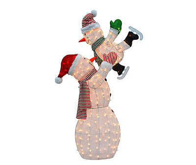 Holiday Lighted Snow Mom with Ice Skating Snow Baby Christmas Outdoor Sculpture