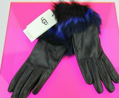 Ugg Leather/ Toscana Fur Black / Blue Cuff Touch Screen Smart Gloves  S Nwt