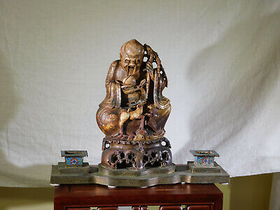 RARE-Antique Chinese c1800's Stone Sculpture Immortal Statue w/Cloisonne Censors