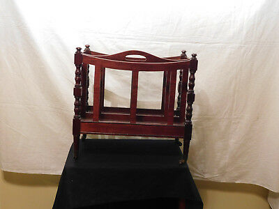 Antique Brandt Furniture 100% Mahogany Magazine Rack Coaster Wheels