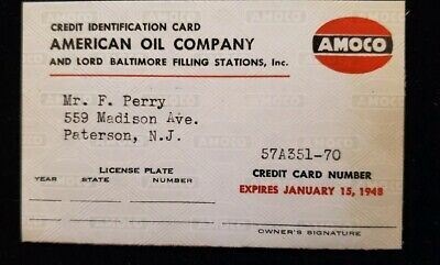 1948 paper AMOCO credit card with holder ♡Free Shipping♡ cc58
