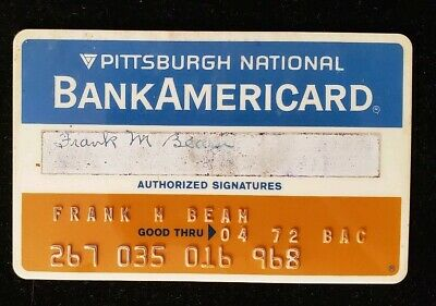 BankAmericard Pittsburgh National Bank Credit Card exp1972 ♡Free Shipping♡ cc110