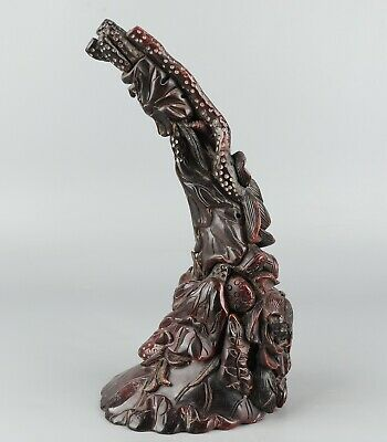 Chinese Exquisite Hand-carved lotus Carving OX Horn statue