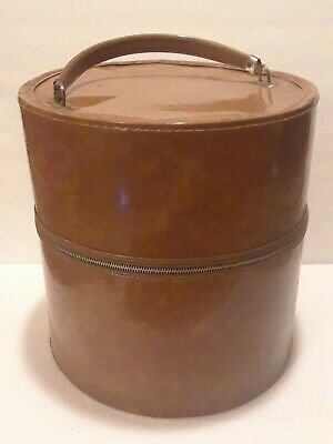 """Vintage 13"""" Round Brown Hat Box Travel Train Luggage Tall Wig Case Carry Handle"""