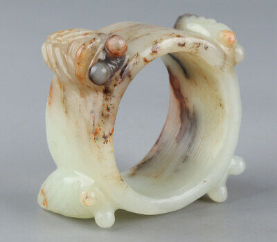 Chinese Exquisite Hand carved cicada Carving Hetian jade Thumb ring