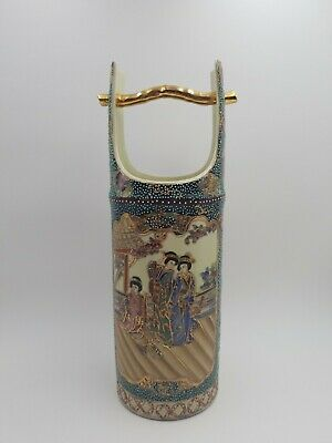 "Antique Royal Satsuma Vase Large 14.25"" Tall Hand Painted Oriental Scene Vase"
