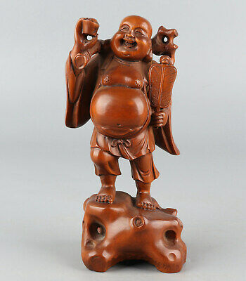 Chinese Exquisite Hand-carved Buddha Carving Boxwood statue