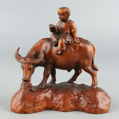 Chinese Exquisite Hand-carved child Cattle Carving Boxwood statue