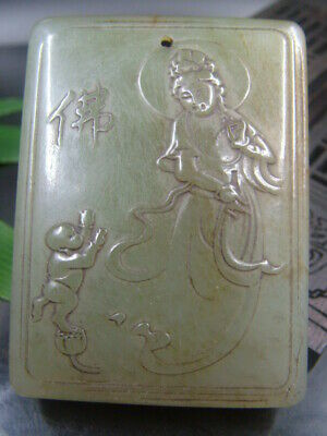 Antique Chinese Celadon Nephrite Hetian OLD-Jade KUANYIN Statues/Pendant