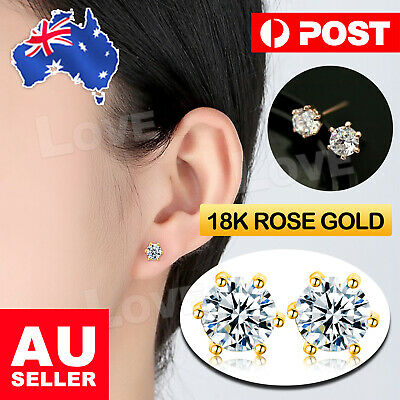 18K Rose Gold GF 6MM Classic Crystal Lab Diamond Stud Earrings Stuning simulated