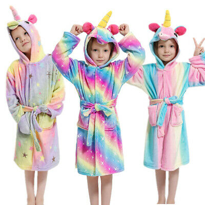 Kids Girls Boys Unicorn Dressing Gown Hooded Bath Robe Animal Print Night Wear
