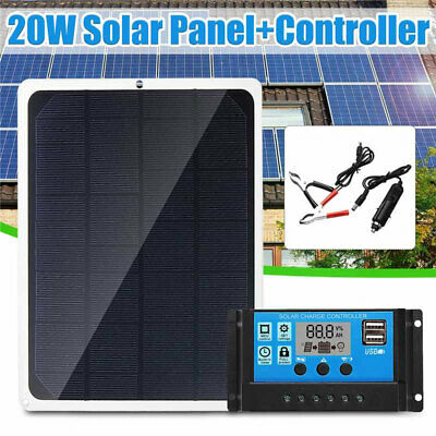 20W 12V Flexible Solar Panel Kit Car Boat Trickle Battery Charger Kit Controller