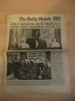 OLD VINTAGE NEWSPAPER 1940S 9 MAY 1945 daily sketch WW2 VE DAY WAR END