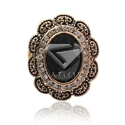 Antique Copper Jewelry Alloy Plated Vintage Jewelry Oval Rings Black Gift TR0094