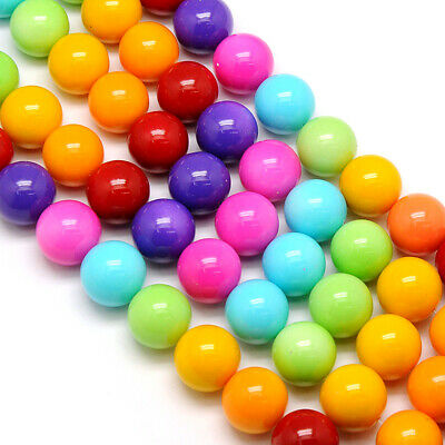 10 Strds Opaque Glass Beads Smooth Round Solid Backing Paint Loose Beads 14mm