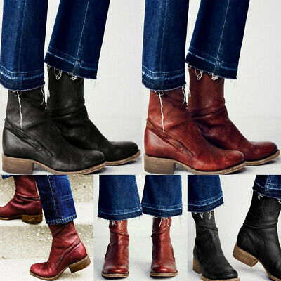 Womens Vintage Mid Calf Biker Boots Ladies Low Chunky Heel Winter Shoes Size 4-7