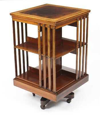 Antique Edwardian Chequer Inlaid Revolving Bookcase 19th C