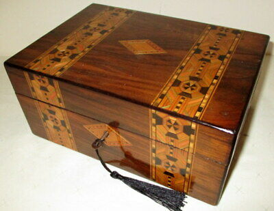 LOVELY SMALLER SIZE VICTORIAN WALNUT & BANDED BOX with key