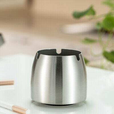 Windproof Ashtray Stainless Steel Tabletop Ashtray Cigarette Cigar Ash J4H3
